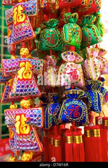 Chinese New Year Dekorationen, Hong Kong, China Stockbild