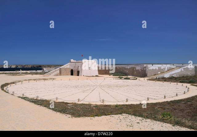 Kompass-Rose und Eingang Tor in Sagres Festung (Fortaleza de Sagres), Ponta de Sagres, Algarve, Portugal Stockbild