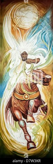 Gemälde von einem Reiter von einem äthiopischen Künstler, Ethiopian National Museum, Addis Ababa, Stockbild