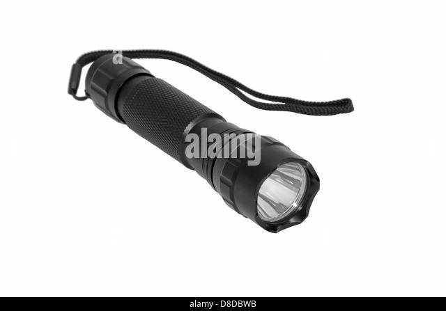 Taschenlampe, isoliert, weiß, schwarz, Blitz, Fackel, Kraft, Werkzeug, hell, Ausrüstung, Stahl, Lampe, Stockbild