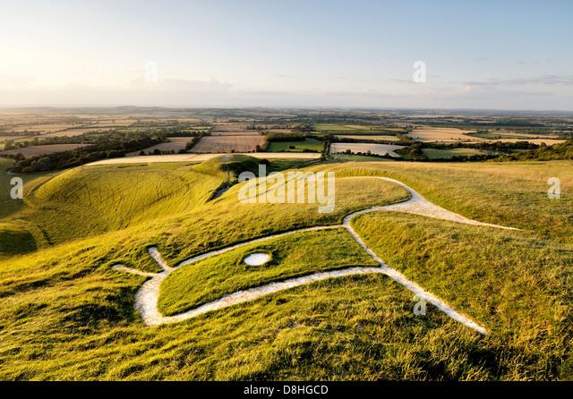 Uffington White Horse. Prähistorische Bronzezeitalter Hügel Kreidefigur Oxfordshire, England. Über Stockbild