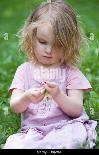 Kleines Mädchen sitzt im Rasen, spielen mit Grashalm Stockbild