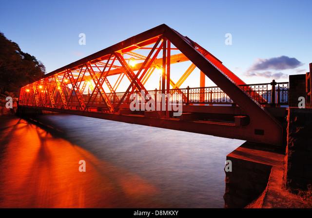 Sansen Brücke Shikotsu-See in der nördlichen Insel Hokkaido, Japan. Stockbild