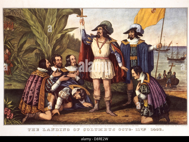 Die Landung von Columbus, Operationsform. 11. 1492, Lithographie, Currier & Ives, 1846 Stockbild