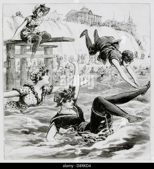 Frauen Schwimmen am Ocean Beach, New Jersey, USA, Illustration, 1892 Stockbild