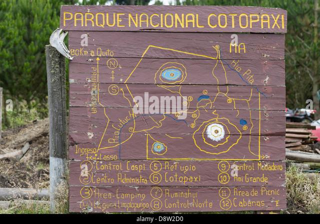 Cotopaxi-Nationalpark, Zeichen, Karte, Cotopaxi, Ecuador Stockbild