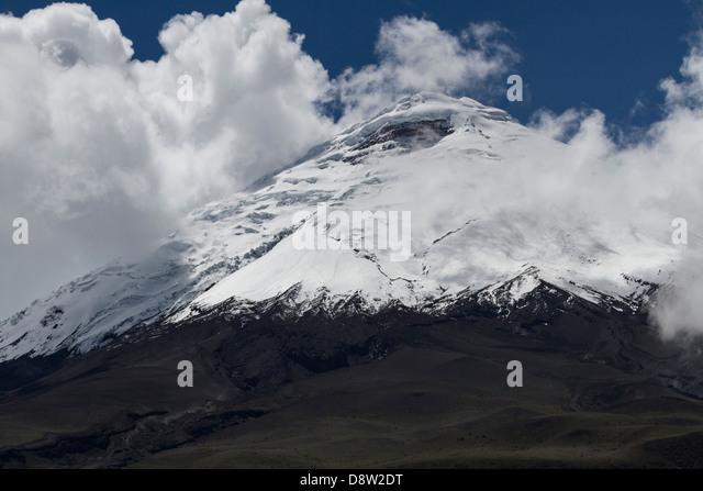 Schneebedeckte Gipfel, Vulkan Cotopaxi, Cotopaxi Nationalpark Cotopaxi, Ecuador Stockbild