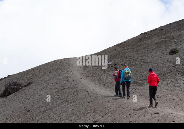 Aufstieg in Richtung Jose Ribas Refugium, Vulkan Cotopaxi, Cotopaxi Nationalpark Cotopaxi, Ecuador Stockbild