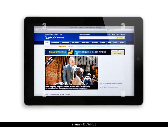 Website von Yahoo Movies auf dem iPad Stockbild