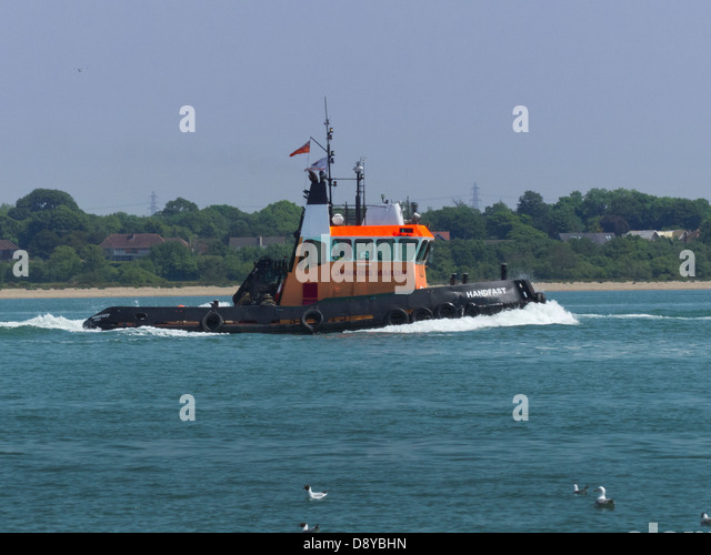 Alte Schlepper Workboat am Southampton Water Stockbild