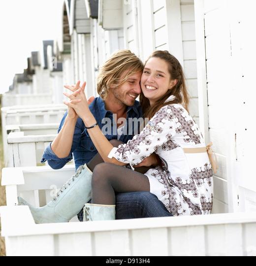 Ein junges Paar in Liebe, Skane, Schweden. Stockbild