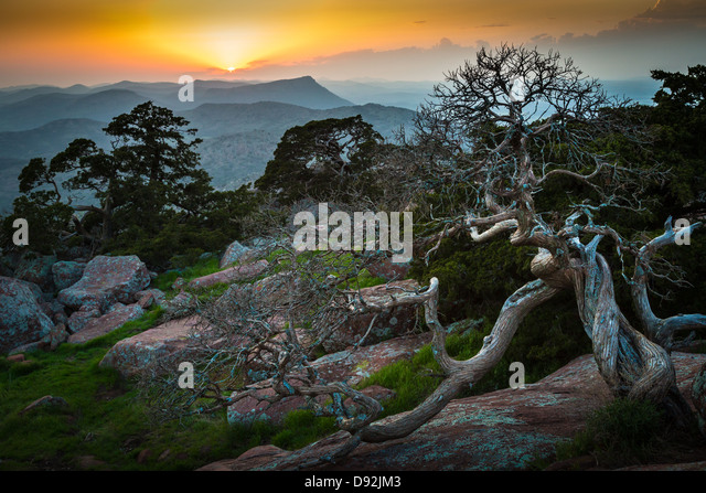 Blick vom Mount Scott in Wichita Mountains Wildlife Refuge, Oklahoma Stockbild