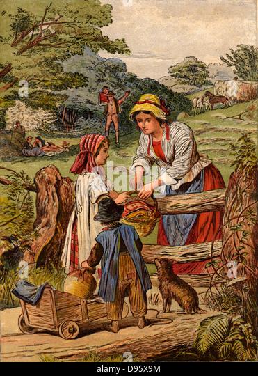 Sommer: Kinder mit einem kleinen Warenkorb bringt Essen und trinken zu ihren Eltern, die Heuernte. Chomolithograph Stockbild