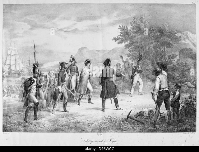 Napoleon Elba verlassen, nach seiner Verbannung, 1815. Gravur. Stockbild