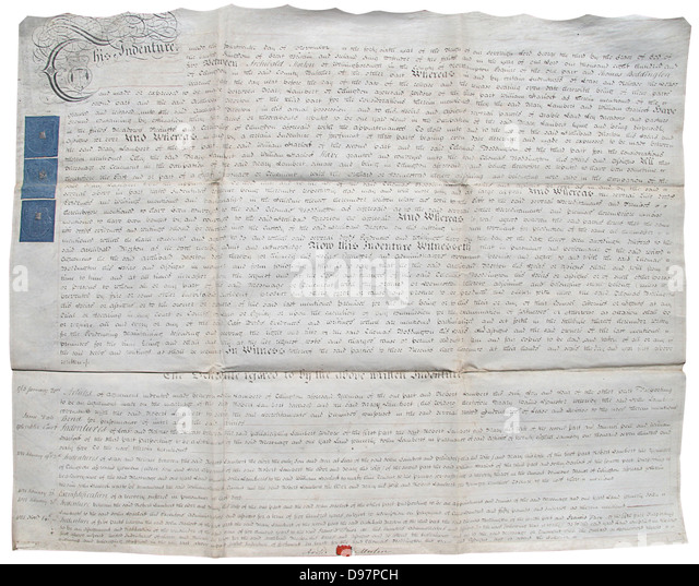 Englische Leibeigenschaft Dokument von 1805 auf Pergament. Stockbild