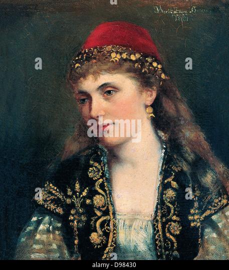 Bertha von Bayer, Bildnis einer Frau. des 19. Jahrhunderts. Öl auf Leinwand. Pera Museum, Istanbul. Stockbild
