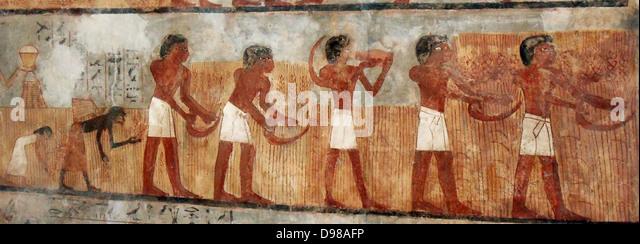 Bilder aus dem Grab des Unsu, altes Ägypten Stockbild