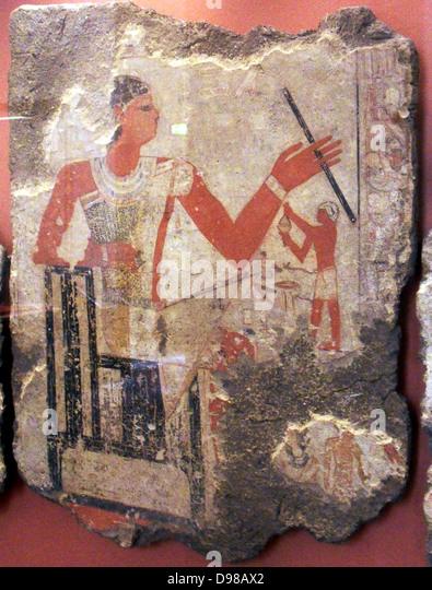 Grab Gemälde Metchetchi bis 2350 v. Chr. (frühe 6. Dynastie) in Sakkara? Schlamm Gips und lackiert Stockbild