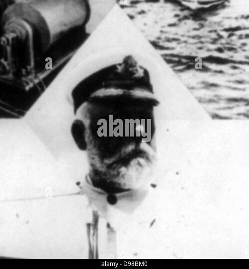 Die große Titanic-Katastrophe-Kapitän Smith von der Titanic 1912 Stockbild