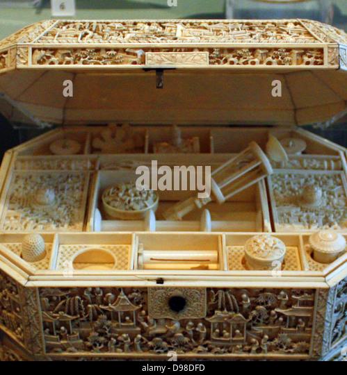 Zwei Nähen Boxen, 1800, China, Lack, Elfenbein.  Beide Boxen wurden in China für den Export nach Europa. Stockbild