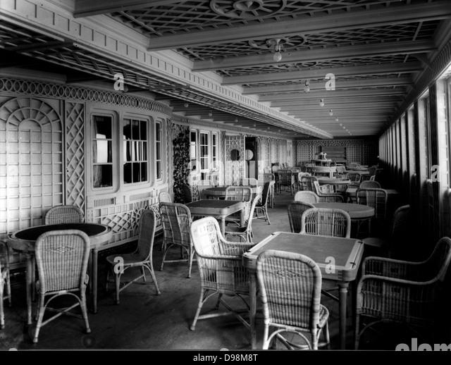 First class äußeren Veranda auf der Titanic Schiff, das im Jahr 1912 sank Stockbild