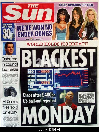 Titelseite der Zeitung 'The Sun' 30. September 2008. Lead Story ist der Zusammenbruch der Börsenwerten Stockbild