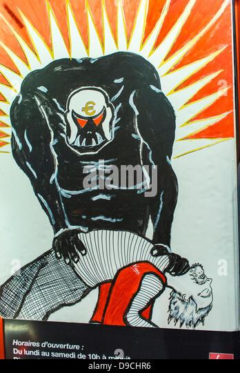 Paris, Frankreich.  Detail-Plakat der kapitalistischen Ausbeutung bei Demonstration der Virgin Megastore Arbeitnehmer, Stockbild