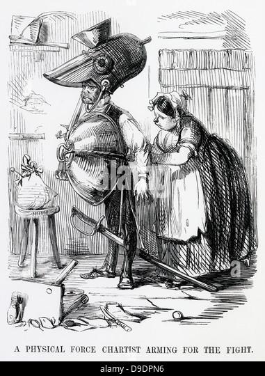 """Eine Chartist Aktivist bewaffneten Konflikt.  Cartoon aus """"Punch"""", London, 1848. Stockbild"""