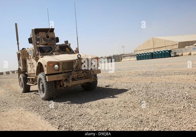 Oshkosh M-ATV sitzt geparkt am Camp Leatherneck, Afghanistan. Stockbild