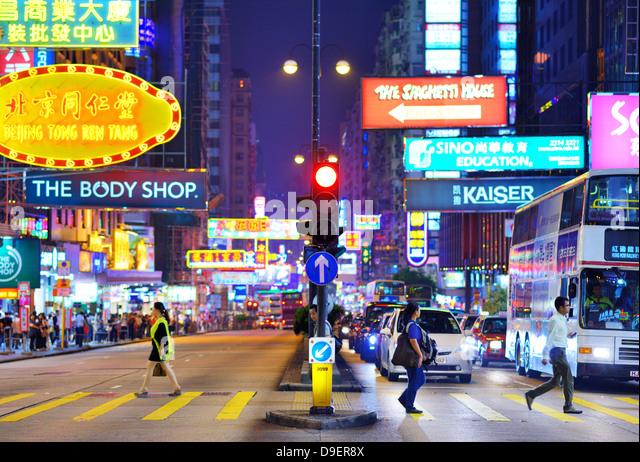 Nathan Road in Hongkong. Stockbild