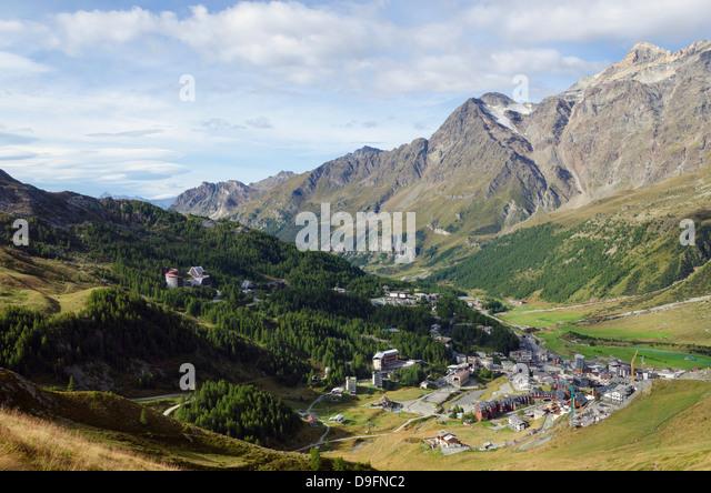 Breuil Cervinia Ferienort, Aostatal, Italienische Alpen, Italien Stockbild