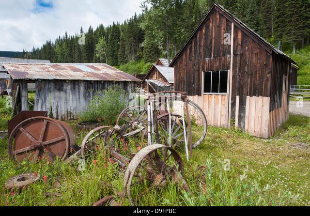 Altgold Altstadt, Barkersville, British Columbia, Kanada Stockbild