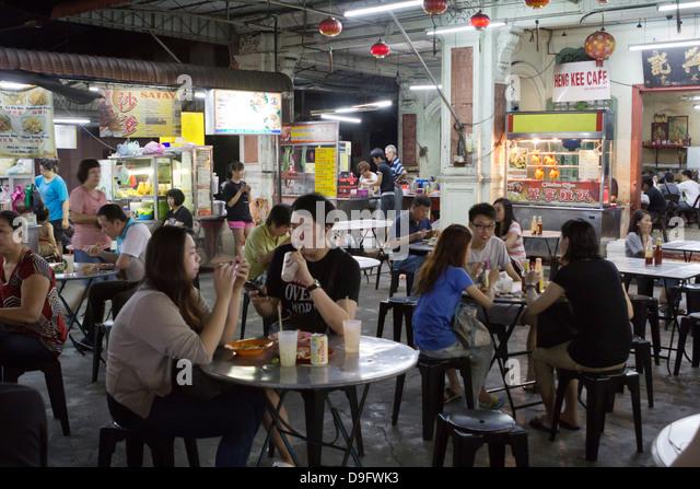 Nacht Essensstände in Chinatown, Georgetown, Pulau Penang, Malaysia, Südost-Asien Stockbild