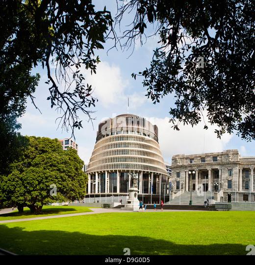 Bienenstock, die New Zealand Parlamentsgebäude, Wellington, Nordinsel, Neuseeland Stockbild