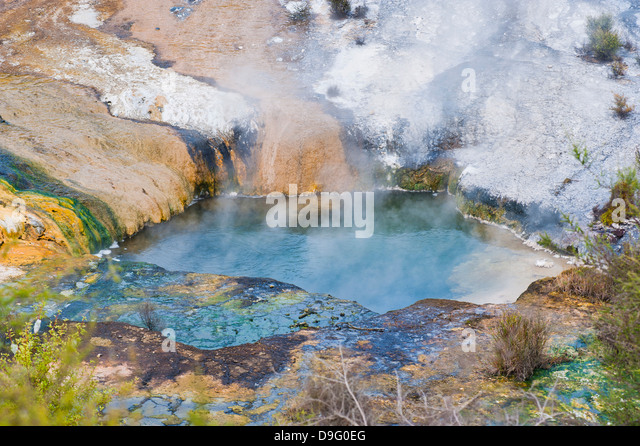Hot Pool auf der Terrasse Regenbogen an Orakei Korako Geyserland, The Hidden Valley, Nordinsel, Neuseeland Stockbild