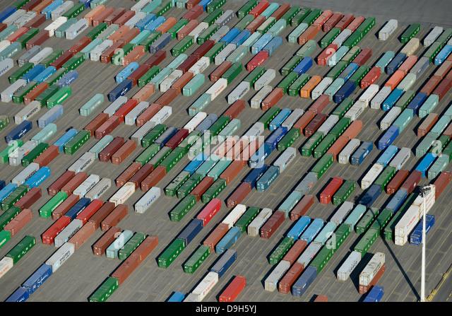 Deutschland Hamburg Containerhafen, terminal HHLA an Burchard Quai im Hamburger Hafen Stockbild