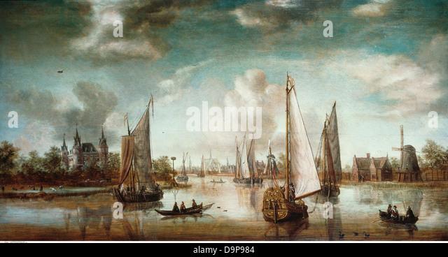"""Bildende Kunst, Storck, Abraham (1644-1708), Malerei, """"Amsterdam Hafeneinfahrt"""" 18. Jahrhundert, historische, Stockbild"""