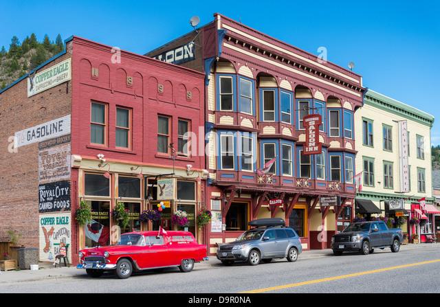 Main Street, Greenwood, Britisch-Kolumbien, Kanada Stockbild