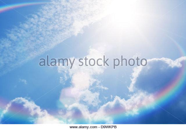 Sonnenhimmel Fackel hell Stockbild