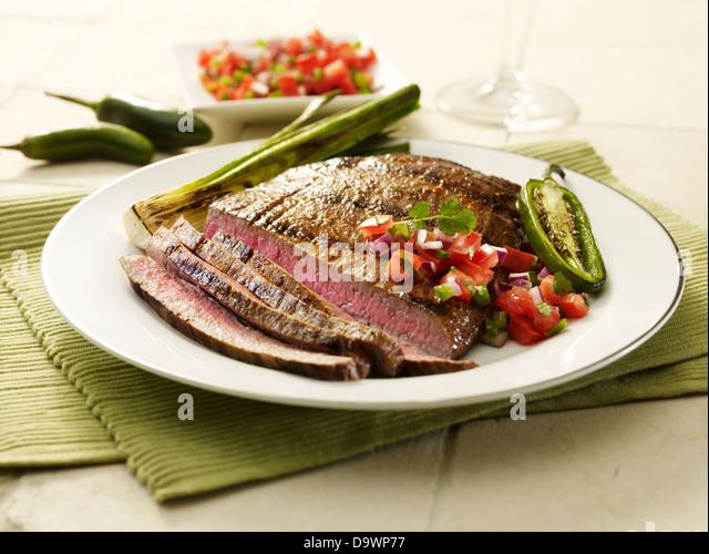 Flanke Steak geschnitten Stockbild
