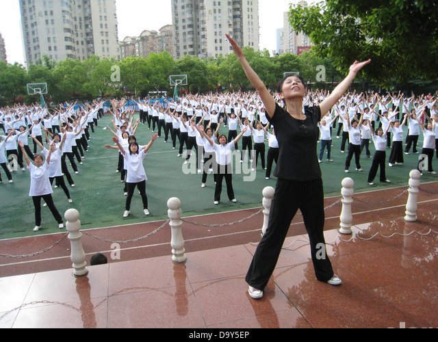 Shanghai Leben Gemeinschaft Übung Übungen Sport Stockbild