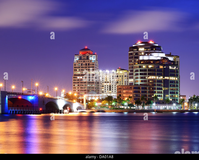 Skyline von West Palm Beach, Florida, USA. Stockbild