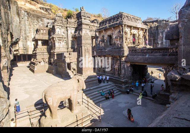 Buddhistischen Höhlen von Ellora, Indien Stockbild