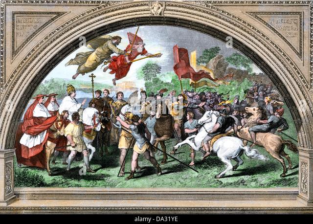 Attila und die Hunnen zu überwinden, indem die Kräfte des Christentums. Stockbild