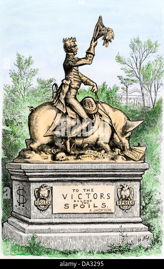 Dem Sieger gehören der Beute, eine Satire auf Zivildienst, Andrew Jackson Statue reitet ein Schwein, 1877 zeigen. Stockbild