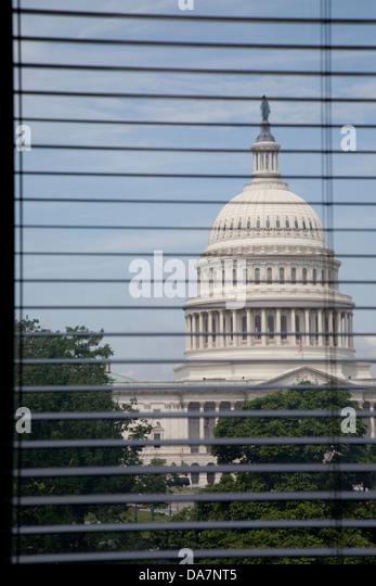 Mit Blick auf das Kapitol aus der Library of Congress, Washington DC, Stockbild