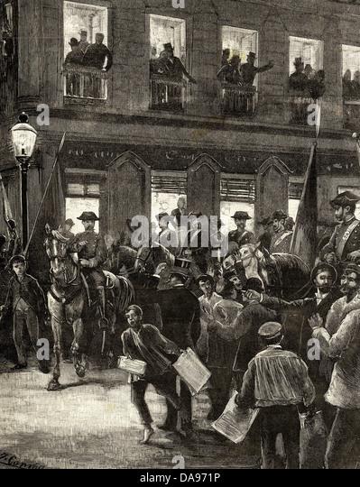 Spanien. Konflikt von den Karolinen. Patriotische Protest in Sevilla Street, Madrid. Gravur. 1885. Stockbild