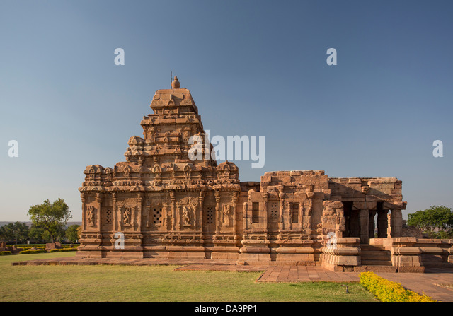 Indien, Süd-Indien, Asien, Karnataka, Badami, Pattadakal, World Heritage, Virupaksha, Tempel, Panorama, rot, Stockbild