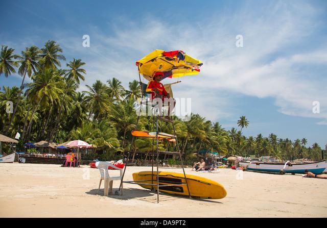 Indien, Süd-Indien, Asien, Goa, Palolem Beach, Rettungsschwimmer, Palolem, Strand, schöne, bewachen, Palmen, Stockbild
