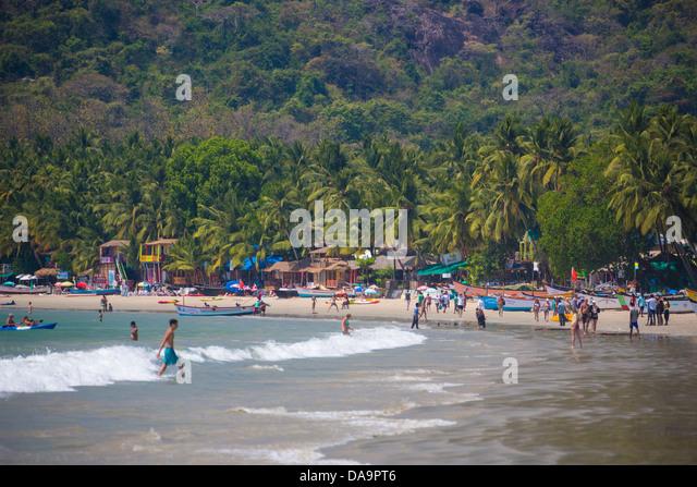 Indien, Süd-Indien, Asien, Goa, Palolem Beach, Palolem, Strand, schöne, Palmen Bäume, Tourismus, Stockbild